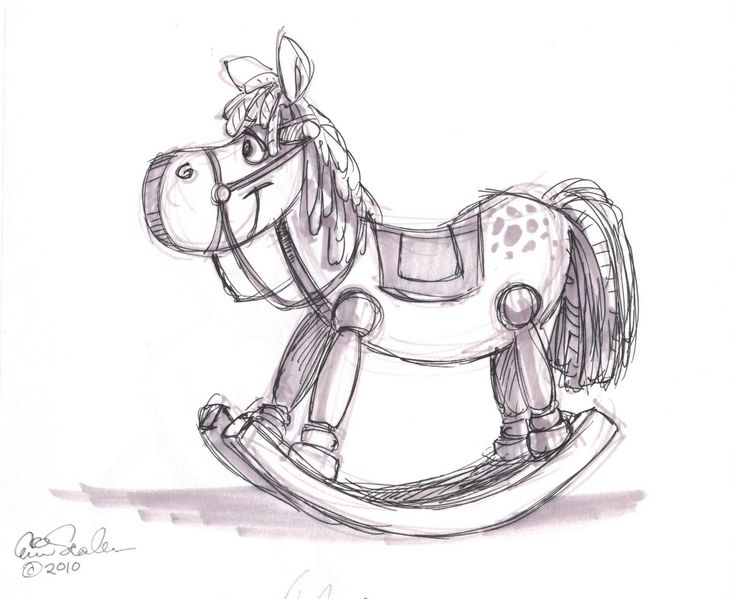 how to draw a rocking horse