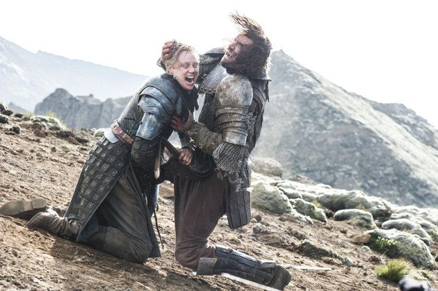the epic fight between  Brienne and the Hound. She bites of his ear!! He punches her savagely. Ultimately she pushes himdown thecliff..Brienne wins.