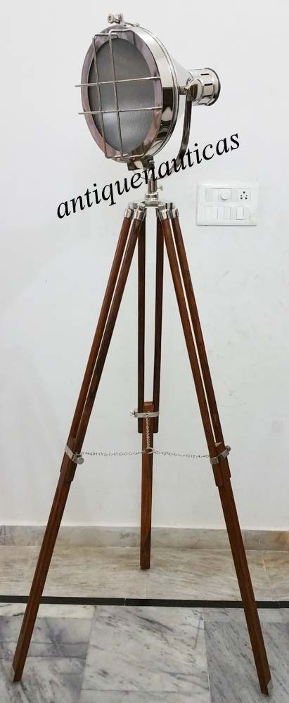 NAUTICAL ELECTRIC FLOOR SEARCHLIGHT WITH BROWN WOOD TRIPOD STAND SPOTLIGHT LAMP #SARAINTERNATIONAL