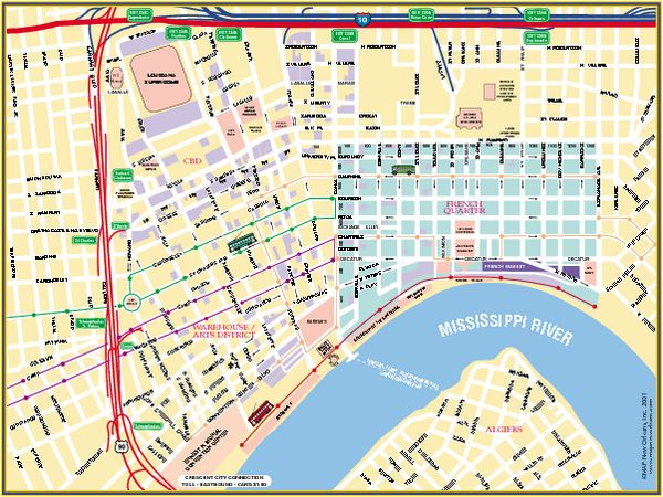New Orleans French Quarter Street Map - New Orleans Louisiana ...