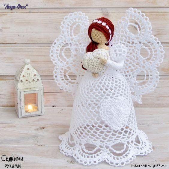 Moldes de Angeles de Navidad de Crochet | muñecas | Pinterest ...