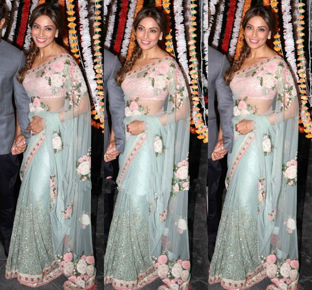 Bollywood Actress Saree Collections: Bipasha in Mint Green Floral ...