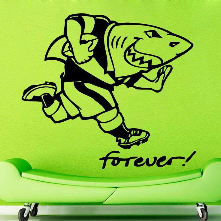 WALL ART STICKER VINYL DECAL  MURAL funny picture shark athlete rugby  DA2297 #Fashion #MuralArtDecals