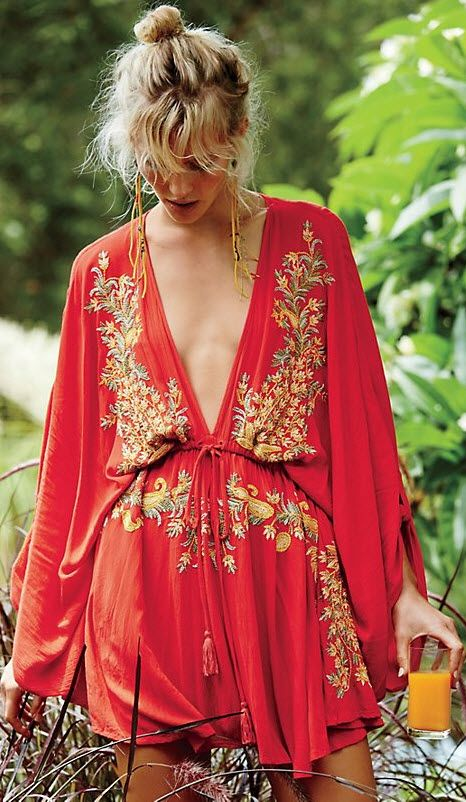 Pretty Pineapple Dress via #FreePeople - this vintage-inspired dress features a plunging V-neckline and beautiful floral embroidery. Drawstring waist and roll tab closures along the dolman sleeves for an easy, effortless fit.