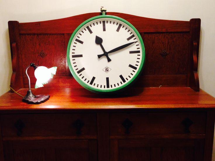 Rare antique TELENORMA (TN) german industrial single face hanging clock (green)