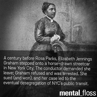 elizabeth jennings graham (elizabeth jennings graham and rosa parks) on july 16, 1854, ms graham was running late to play the organ at her church and boarded a streetcar owned by the third avenue railway company, which did not allow african american passengers as she boarded, the streetcar operator protested her riding the streetcar telling her to get off.
