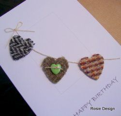 Harris Tweed Heart Bunting Card [Tweed Bunting] - £3.00 : Rosie Design, Scrumptious Hand Made Stationery from Scotland
