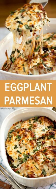 Eggplant Parmesan is really filling, super flavorful, hearty and healthy. Click through for recipe!