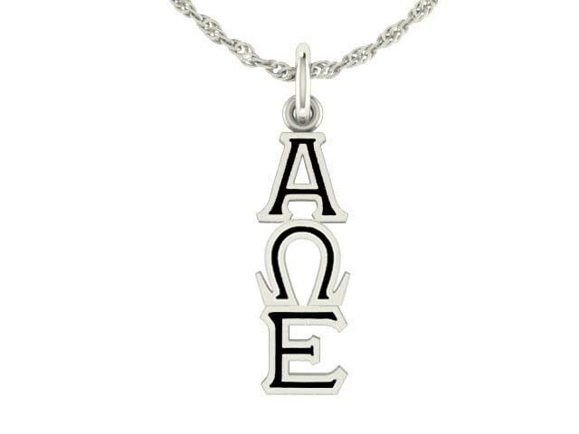 These Alpha Omega Epsilon Sorority Lavalier Charms are the highest quality available. Made from solid sterling silver with a durable black enamel background. Up to date modern styling make these laval
