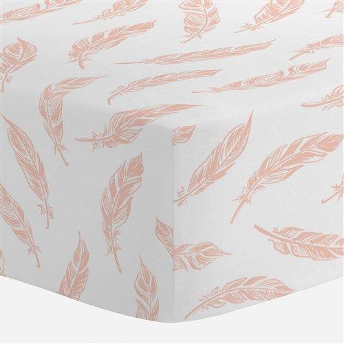 Peach Hand Drawn Feathers Crib Sheet
