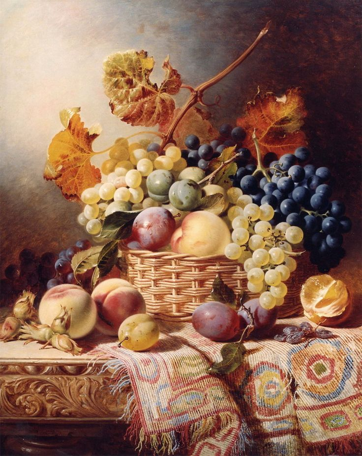William Duffield - Still Life with Basket of Fruit on a Table with a Rug