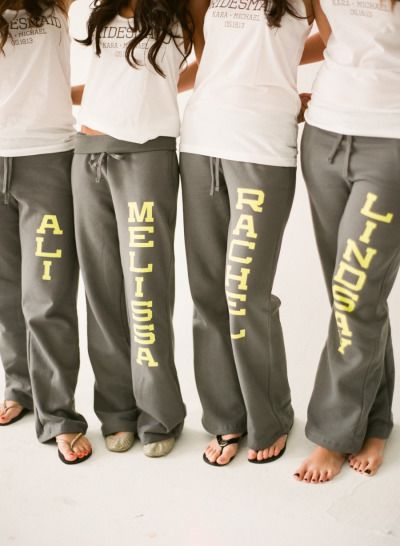 custom sweats for getting ready the morning of your wedding day- Lindsay Madden Photography