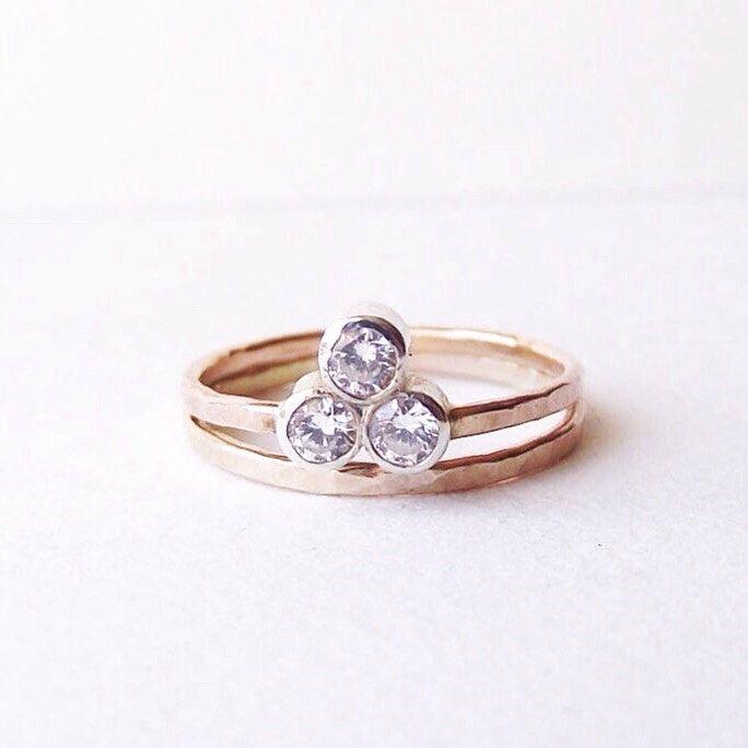 Past Present Future ring. Alternative Engagement Ring. Three stone Moissanite ring. Reclaimed 14K Gold. by NestedYellow on Etsy https://www.etsy.com/ca/listing/217014960/past-present-future-ring-alternative