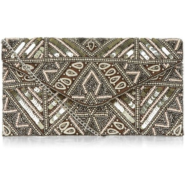 New Look Gold Embellished Beaded Clutch (£20) ❤ liked on Polyvore featuring bags, handbags, clutches, gold, brown purse, beaded handbag, beaded purse, embellished purses and gold handbags