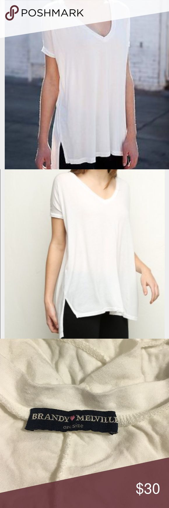 Brandy Melville Milan Top From brandy Melville. The Milan v neck top in all white worn once. Like brand new! Brandy Melville Tops Tees - Short Sleeve