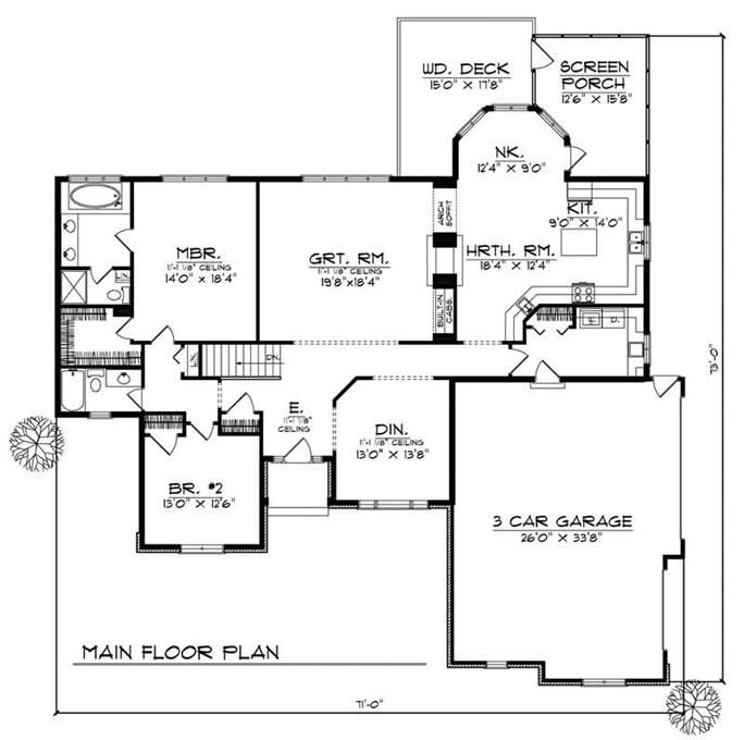 Main Floor Plan 2200 Sq Ft House Plans House Plans Ranch Style House Plans