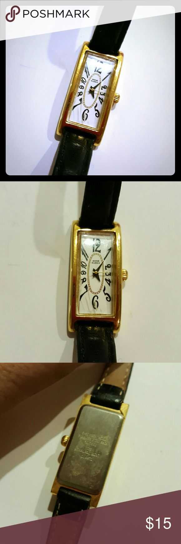 VTG 80s Anne Klein vintage watch Anne Klein vintage watch needs batteries black leather band Anne Klein Accessories Watches