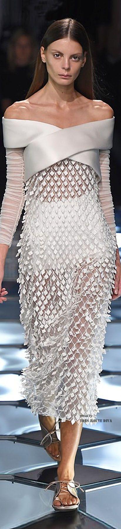 Balenciaga ~ Spring White Satin Off the Shoulder Sheer Maxi Dress w Diamond Shape Embellishments, 2015