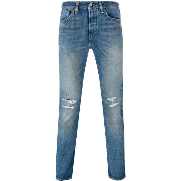 Levi's jeans ($128) ❤ liked on Polyvore featuring men's fashion, men's clothing, men's jeans, blue, mens ripped jeans, mens blue jeans, mens destroyed jeans, mens blue ripped jeans and mens distressed jeans