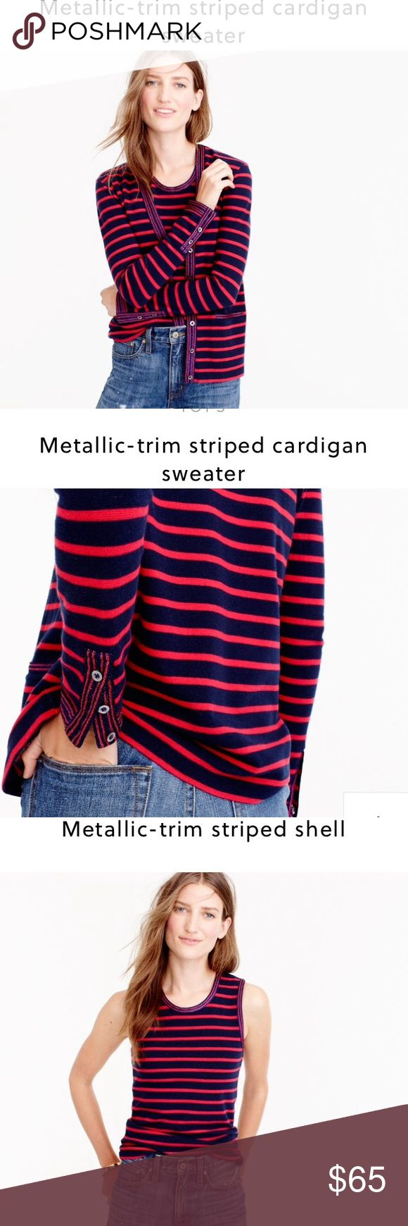 J. Crew metallic trim cardigan twinset J. Crew cardigan set • matching tank • striped  twinset • metallic cuffs, pockets and lapel • pockets still sewn shut • Sz XS • like-new, excellent condition • fast same/next day shipping • BUY IT NOW!!! J. Crew Tops