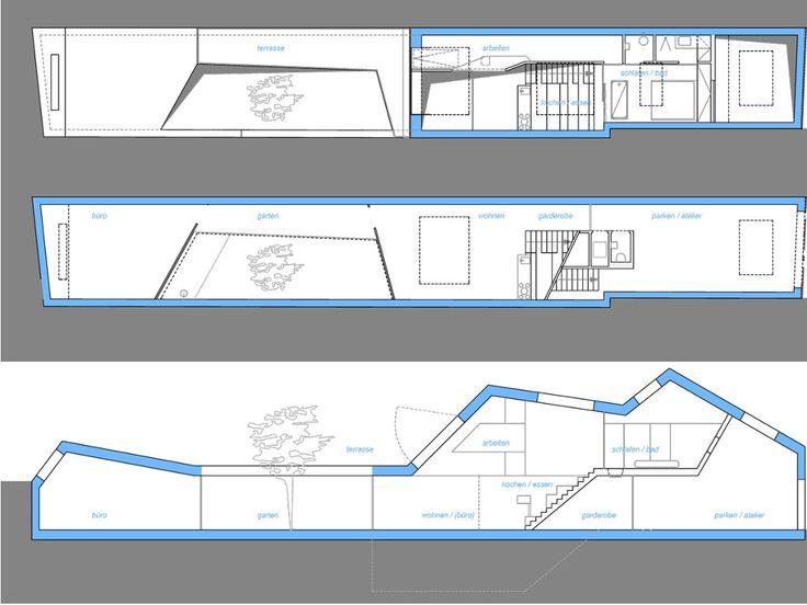 Las 25 mejores ideas sobre techos inclinados en pinterest - Distribucion casa alargada ...