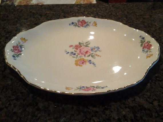 Edwin Knowles China Company Flower Bouquet on Creme Color China Serving Platter with Gold Rim