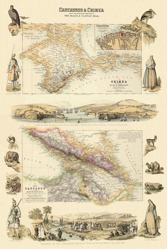 Caucausus and Crimea map print - 1876 The image for this print was digitally enhanced for best appearance.