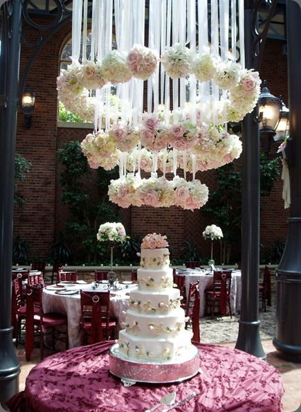 Floral chandelier - I think it's too much crap when it's hung above the cake table.... Maybe above the head table (kings table) or dance floor.