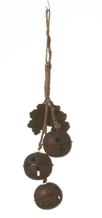 "10"" Lg Bells Jute Rope Hanger-Rusty"