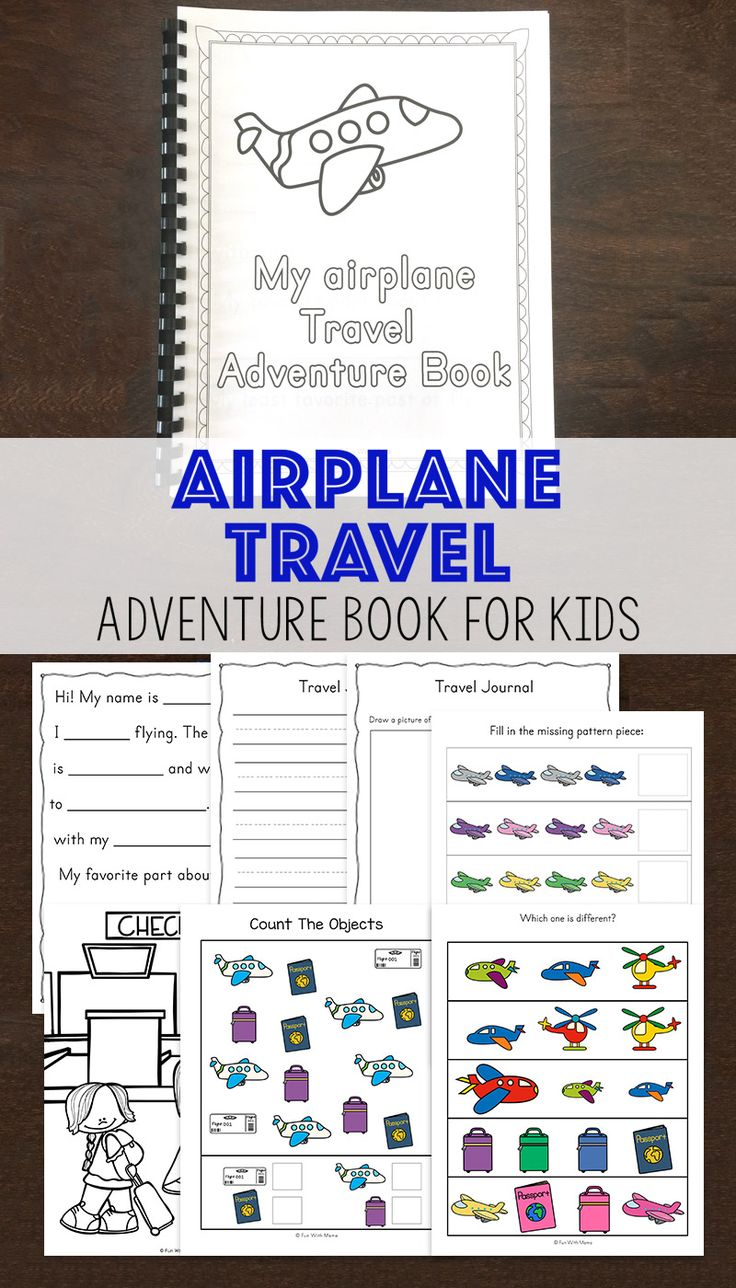 Airplane travel hacks with kids with this free printable adventure book for kids perfect for toddlers and preschoolers on long flights. Great for family vacation. via @funwithmama
