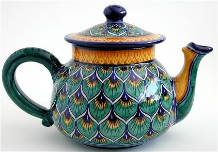 Deruta Italian Pottery Debora Teapot. Hand-painted imported from Italy. allteapots.com