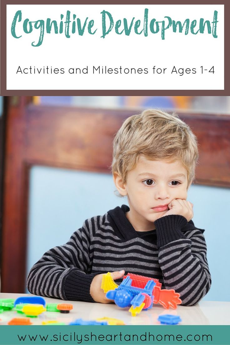 Cognitive Development: Activities for Ages 1-4   Cognitive development is all about creativity and problem solving. Learn how to identify cognitive red flags and provide activities to develop the brain. Click through or pin for later.