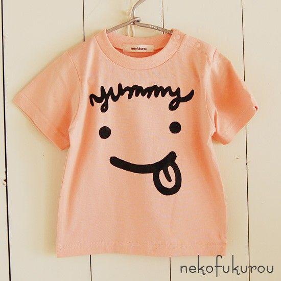 ネコフクロウオリジナルプリント商品Tシャツ全体が食いしん坊のかわいいキッズのお顔になったキュートなデザインの子供Tシャツ。前髪部分はYummy(おいしい!)の...|ハンドメイド、手作り、手仕事品の通販・販売・購入ならCreema。
