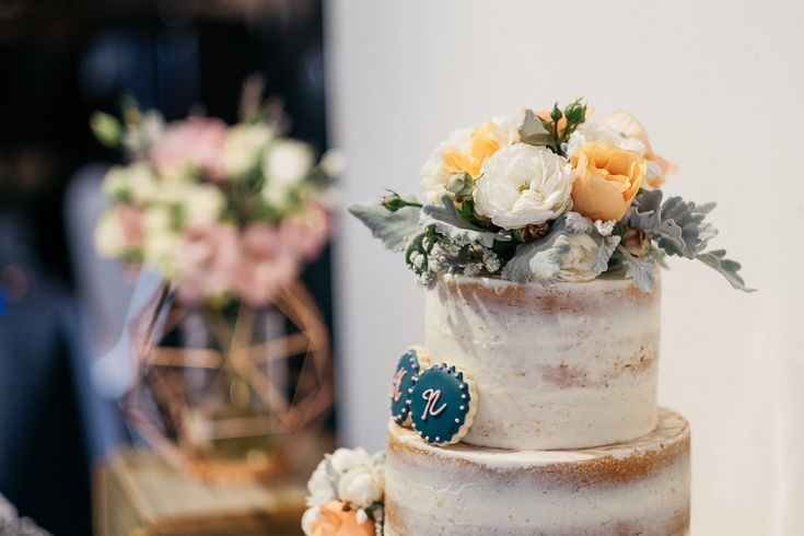 Sweet cake navy yellow orange white flowers sugar cookie wedding Melbourne Australia photographer