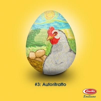 """""""Autoritratto di gallina allevata a terra"""", pasta all'uovo su tavola. Collezione Barilla Emiliane, Primavera 2013. Se amate le opere fatte a regola d'arte, scaricate le decorazioni firmate Emiliane Barilla per la vostra tavola di Pasqua! http://on.fb.me/YFsonX"""
