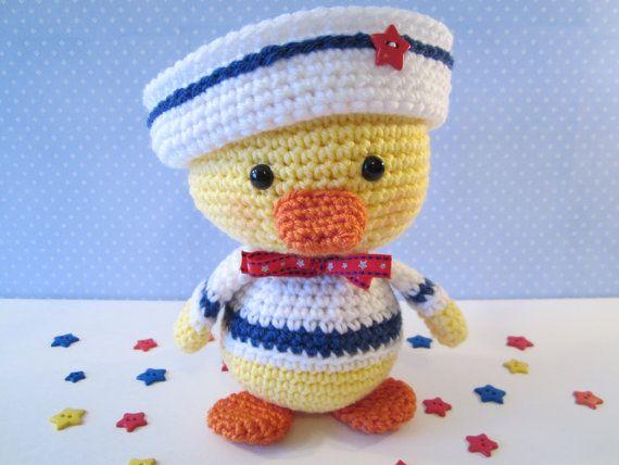 Sailor Duck, Crochet Stuffed Duck in Sailor Suit,  Baby Duck with Sailor Hat, Crochet Plush by CROriginals