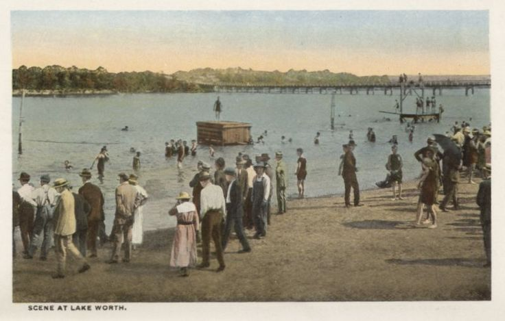 """The perimeter of Lake Worth quickly began to develop: city parks, private campgrounds, beaches, fishing and hunting clubs, taverns and restaurants offering drinks, dinner, and dancing, sailing clubs, boatworks, bait and tackle shops.   In Search of """"Just Right"""": Goldilocks and the Six Lakes (Part 1)   Hometown by Handlebar"""