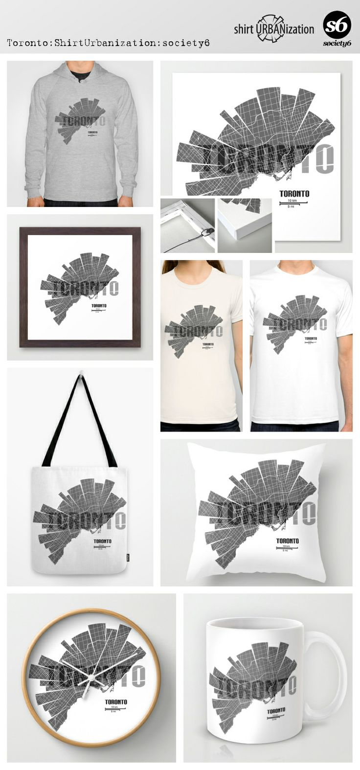 Stylistic city map of Toronto in black and white on light background. Available at Society6 on a variety of products. http://society6.com/ShirtUrbanization/Toronto-Map_Print