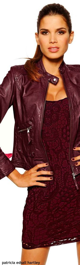 Burgundy Bliss - Love the texture contrast of lace and leather.