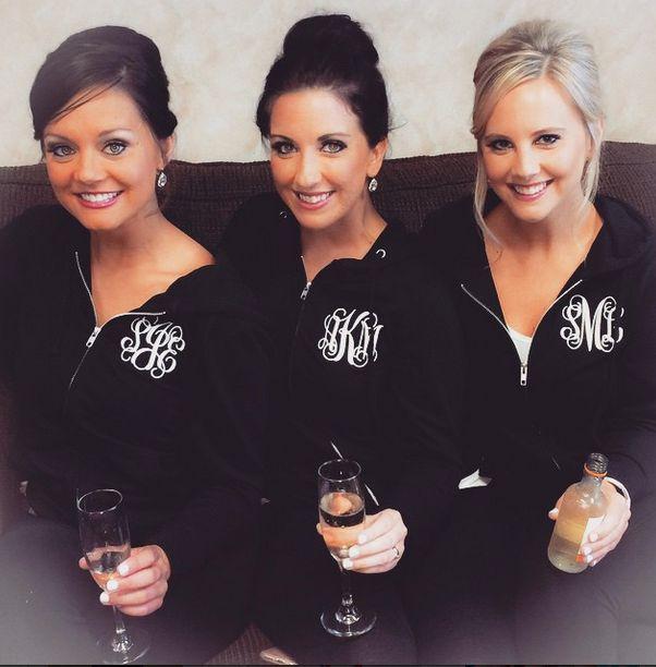 Ladies Monogrammed Full Zip Hooded Sweatshirt Bridal Party!