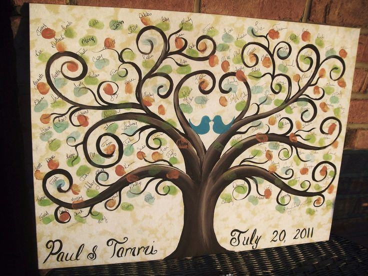In love with this tree :): Idea, Fingerprints Trees, Trees Guest Books, Thumb Prints, Families Meeting, Canvas, Thumbprint Trees, Fingerprints Guest Books, Families Trees