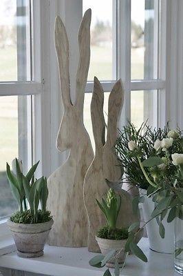 Schöner Hase aus Holz Osterdeko natur  Unikat Handarbeit kleines schwedenhaus