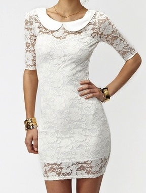 """""""Wedding dress"""" idea for our 30th anniversary vow renewal celebration in May 2013. Love the combination of sleek, sexy cut and sweet, demure Peter Pan collar and lace."""