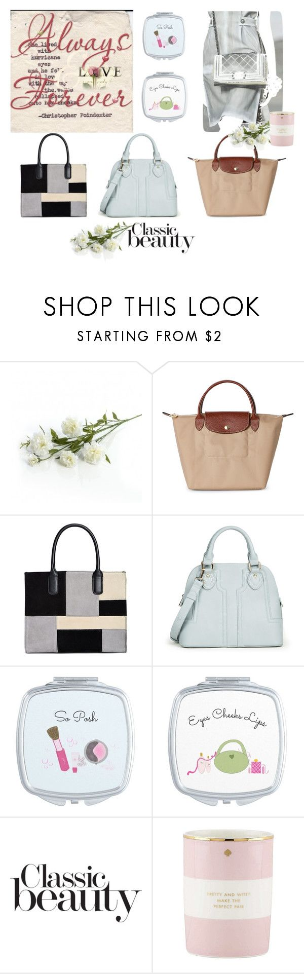 """Satchels"" by fit4you ❤ liked on Polyvore featuring Longchamp, Giani Bernini, Sole Society, Kate Spade, satchels, handbags, compactmirrors and springpurses"