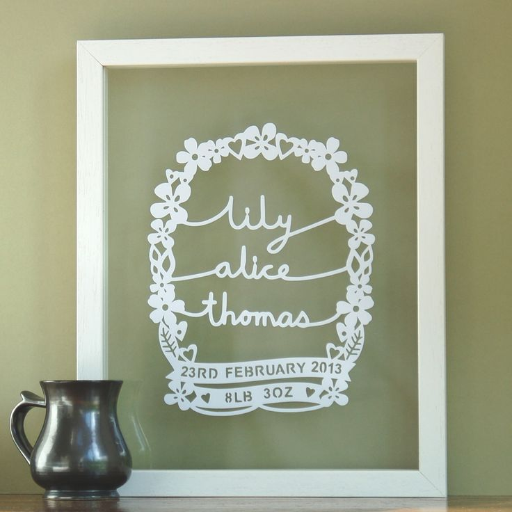 If you are looking for an unusual baby gift, this original papercut design would be one of the more special and unique.  The design includes the baby's name, birth date and birth weight all incorporated within this delicate and pretty design.  It celebrates a momentous event in anyone's life - the birth of a baby. It would make a unique gift for a new born baby, baby christening or baptism or perhaps to decorate a nursery.  This design can incorporate a name with the maximum of three name…