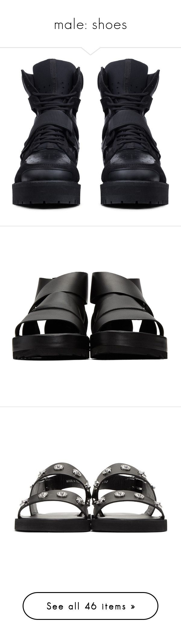 """male: shoes"" by l-x-ily ❤ liked on Polyvore featuring shoes, men's fashion, men's shoes, men's sneakers, mens black sneakers, mens slipon shoes, mens high top shoes, mens slip on shoes, mens slip on sneakers and men's sandals"