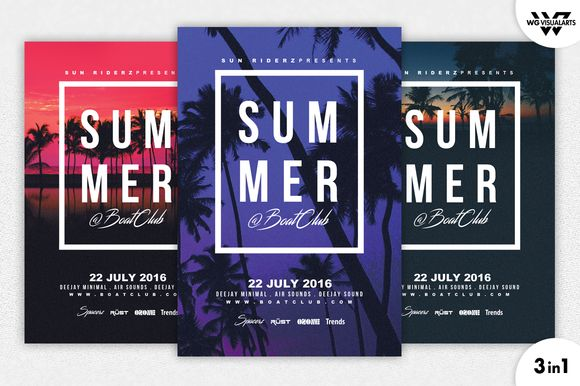 3in1 SUMMER BEACH Flyer Template by WG-VISUALARTS on @creativemarket
