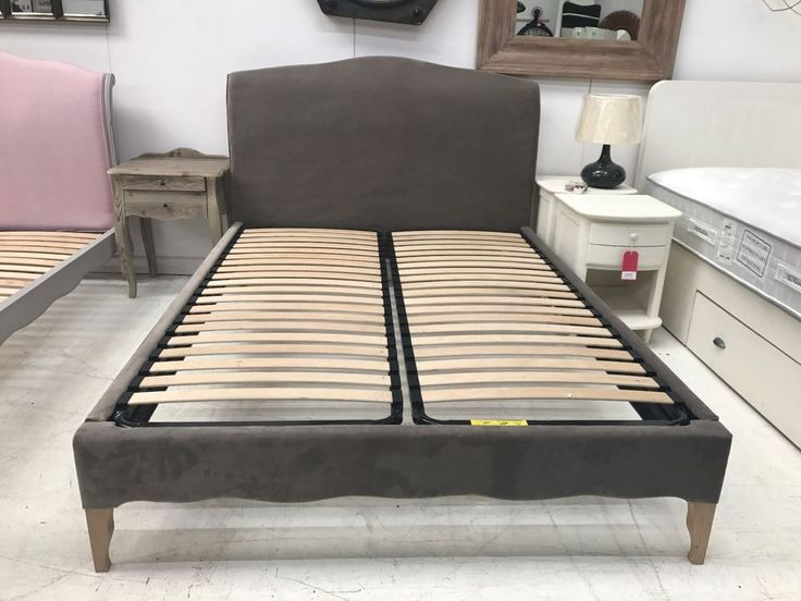 Frenchie Kingsize Bedframe custom upholstered in Fawn Clever Velvet. Lovingly hand upholstered in England, Solid oak legs with a lovely weathered finish. Direct Furniture. Find us at Supplied with a set of sprung birch slats. | eBay!