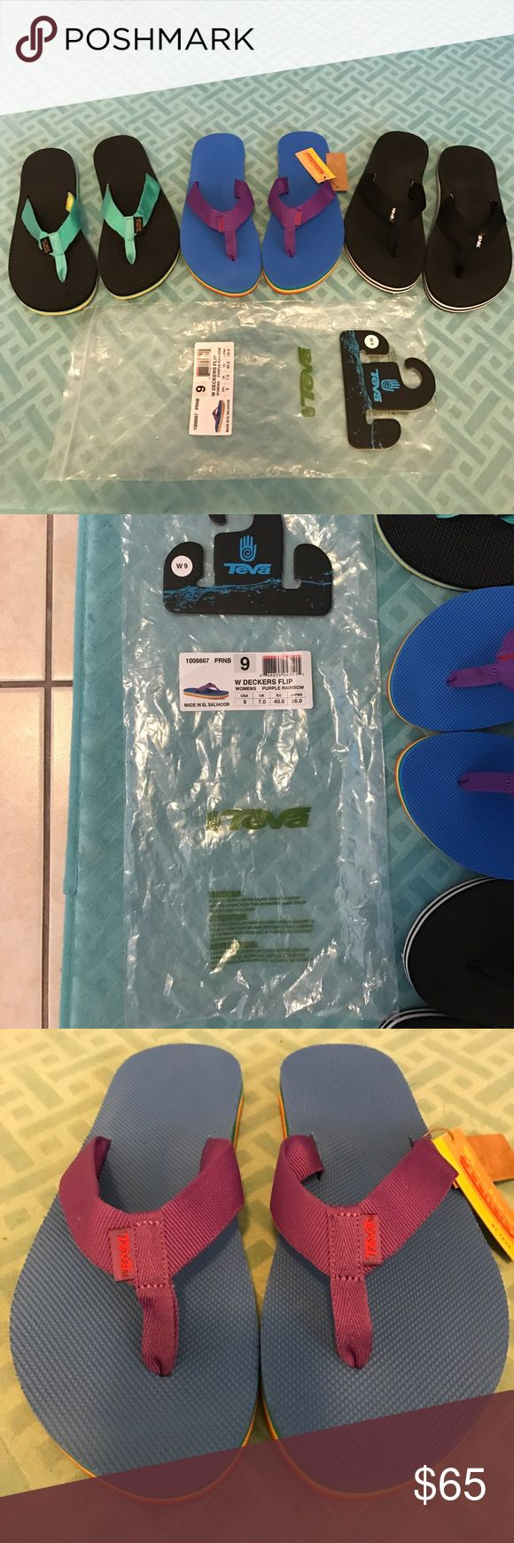 3 pairs of Teva flip flops womens size 9 Rainbow 🌈 double decker brand new with bag. Black/white double decker Excellent condition. Green yellow & black sport great condition. Teva Shoes Sandals