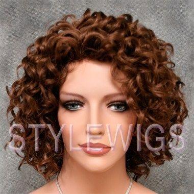Short Bouncy Layered Spiral Curls Curly Light Aburn Wig